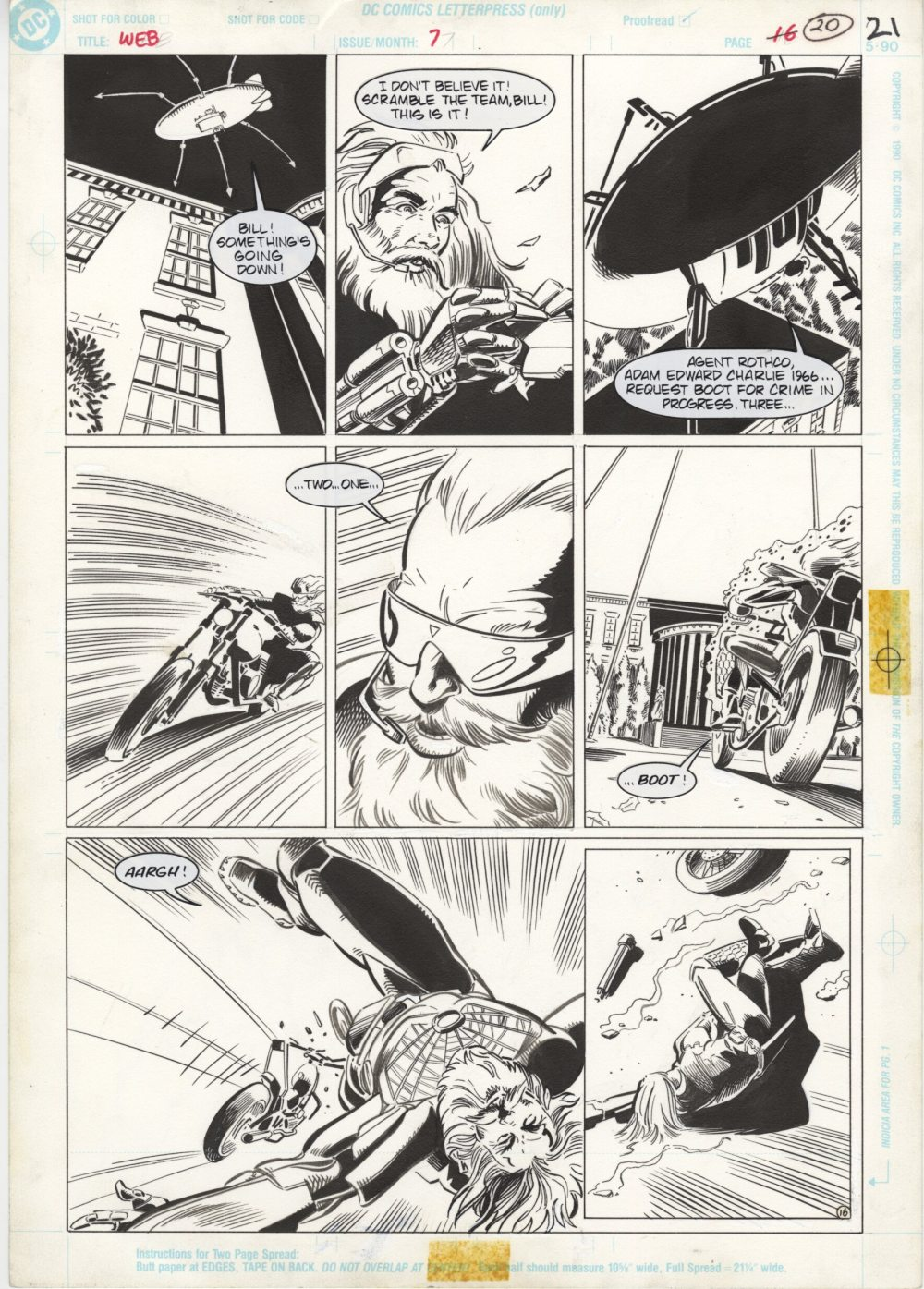 The Web #7, page 21 - Original Comic Art - Tom Artis, Bill Wray, Impact, DC Comics, 1992