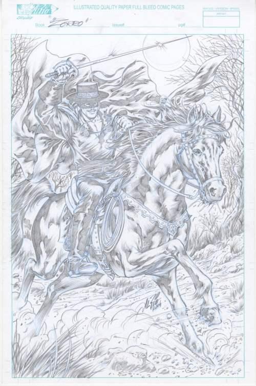 Zorro - Original Art - by Al Rio, 11x17 on Al Rio Studios Blue Lined Art Board, 2004