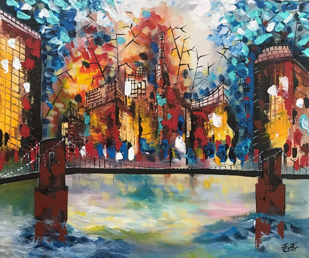 Modern City With Bridge Abstract Painting