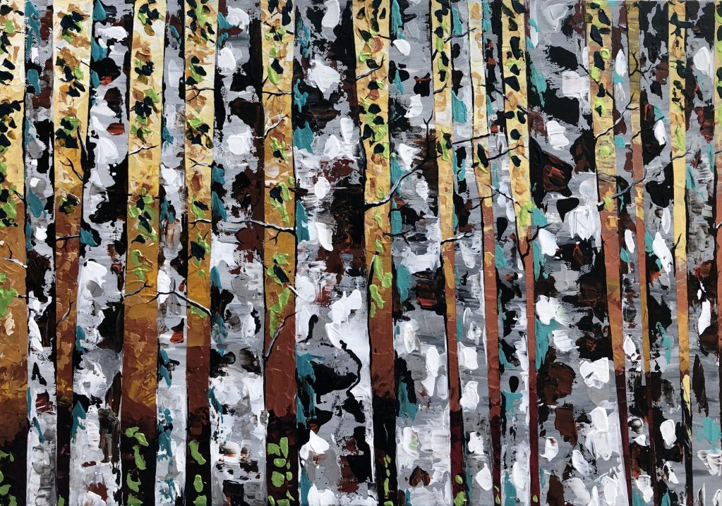 Birch Tree With Mix Leaves 104  Painting
