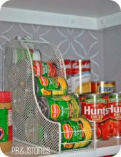 Magazine Rack to organize canned goods! A brilliant Idea from PB&JStories.