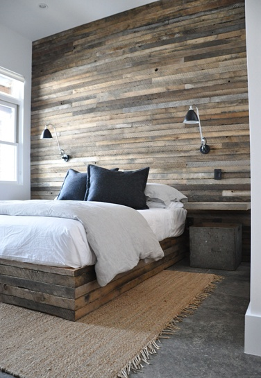 No textured wall conversation would be complete without the style that pinterest made famous--the wood pallet wall (have also seen using shiplap). Very cool look and have seen it many different ways. Definitely cheap, as you can often get the pallets for free. Image via Hometalk