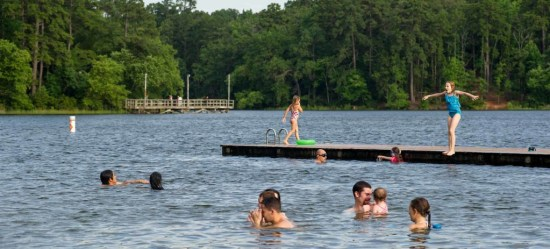 Swim at Lake Tyler at Tyler State Park! Image via Texas State Parks.