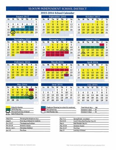 Click here to download SLOCUM ISD 2015-2016 Academic Calendar