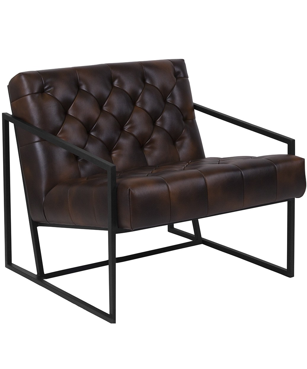 Modern Leather Chairs Keane Tufted Leather Chair W Metal Frame