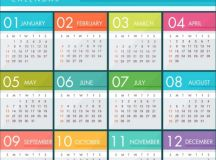 2018 calendar template bright colorful modern design ...