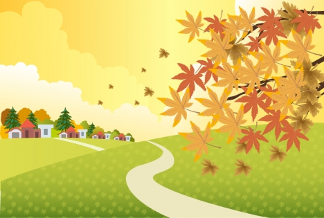 Tree With Leaves Falling Wallpaper Autumn Scenery Illustration With Falling Leaves On Hill