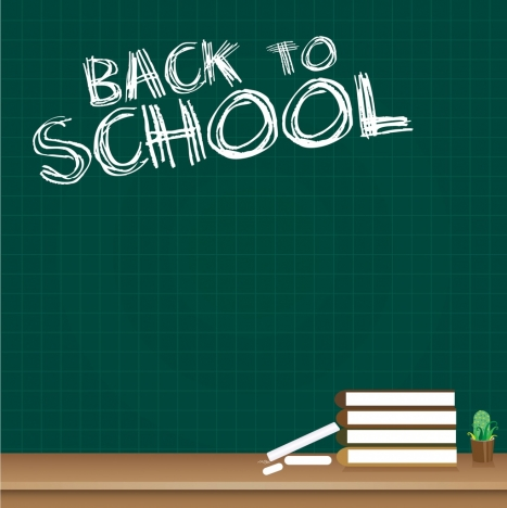 Back to school background chalkboard texts books icon