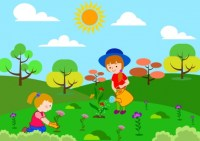 Children planting flowers theme colorful cartoon sketch ...