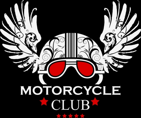 Motorcycle club logo classical ornament helmet wings icons