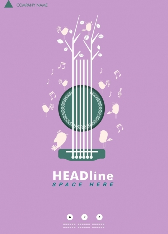 Music poster violet background guitar notes birds decoration vectors stock in format for free