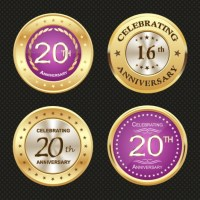 Shiny round medal icons for anniversary celebration ...