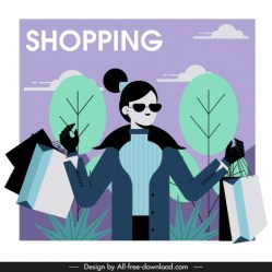 Shopping lady icon contemporary lifestyle cartoon character vectors stock in format for free download 1 023 56KB