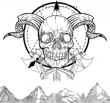 Skull Tattoo Template Black White Retro Sketch Vectors