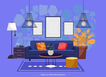 Living room decorative template colorful classic elegant design vectors stock in format for free download 2.29MB