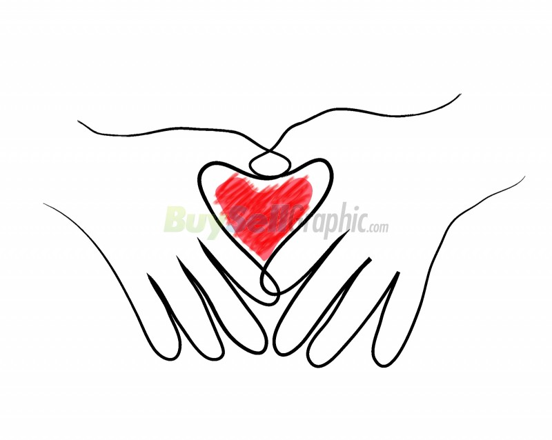 Heart in two hands vector graphic royalty free download