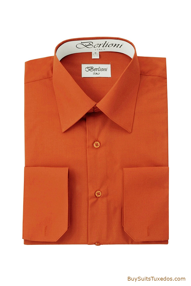 Rust Mens French Convertible Cuff Shirt King Formal Wear