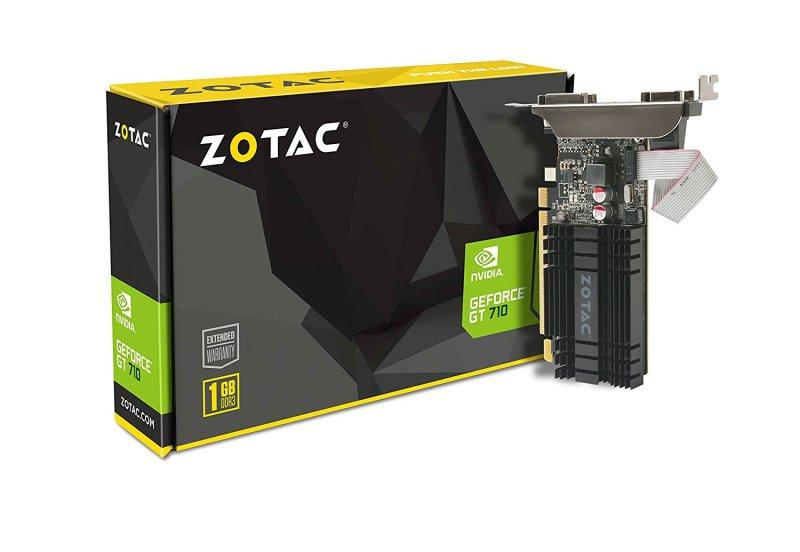 ZOTAC GeForce GT 710 1GB DDR3 PCI-E2.0 DL-DVI VGA HDMI Passive Cooled Single Slot Low Profile Graphics Card (ZT-71301-20L)