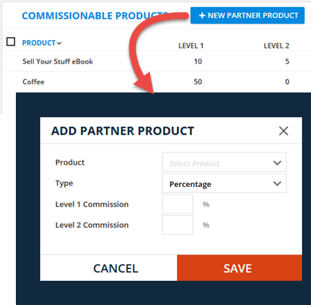 Add Partner Product Menu