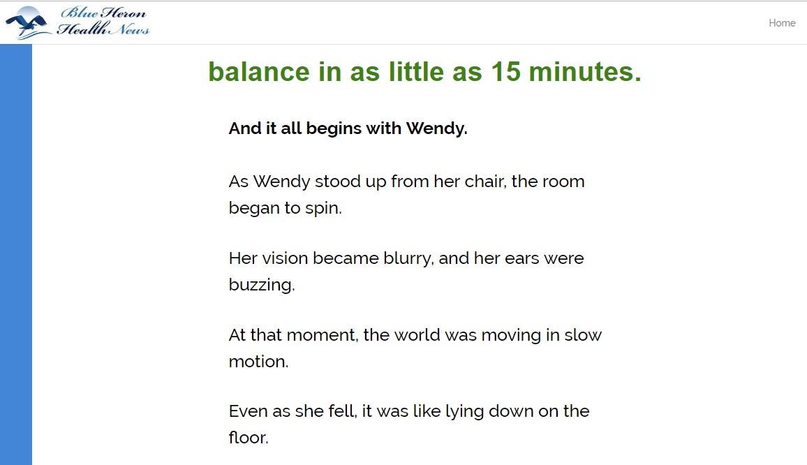 Vertigo Treatment Exercise wendy's story