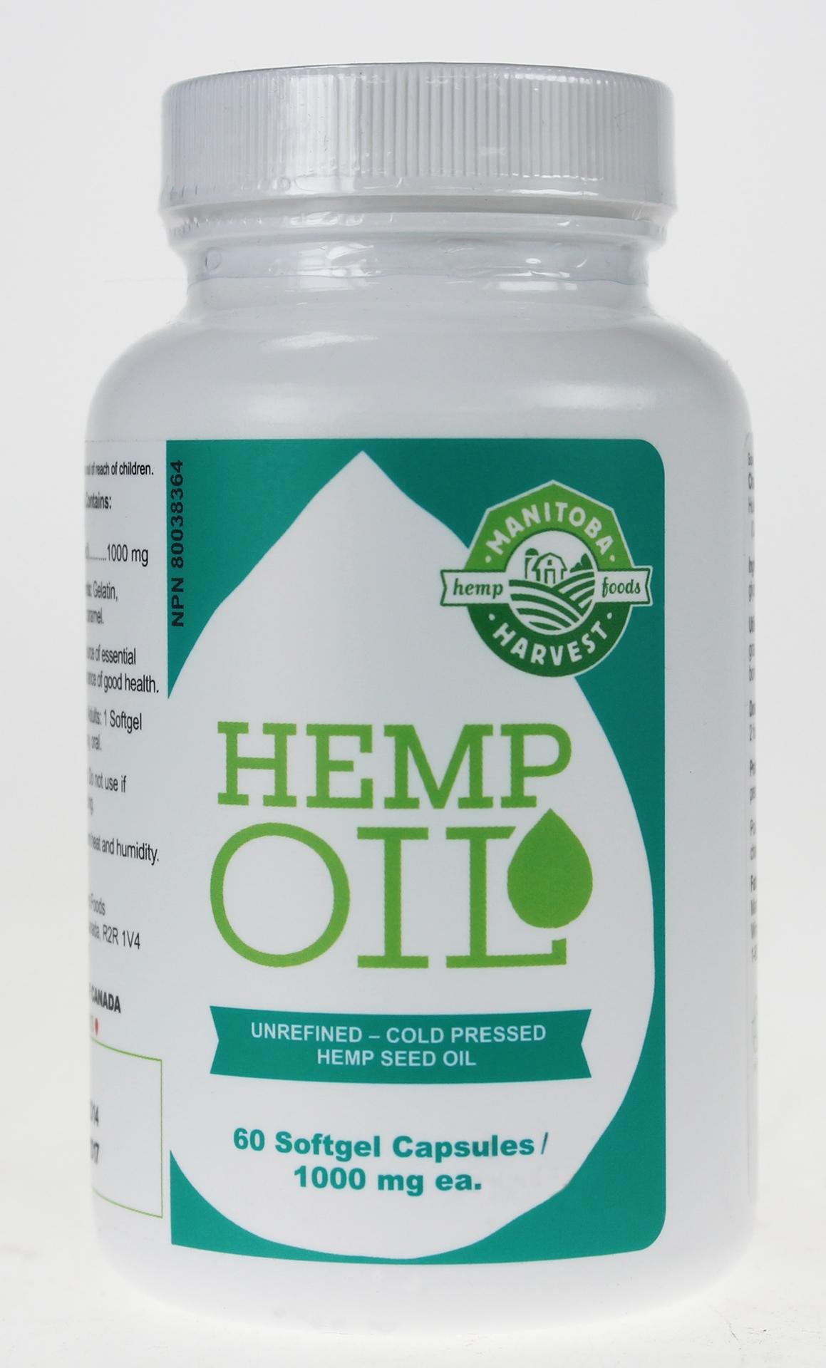 Manitoba Harvest Hemp Seed Oil 1000mg 60 Soft Gel ...