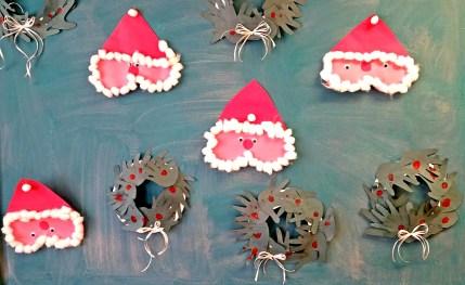 Hand Cutout Wreaths and Santa Faces