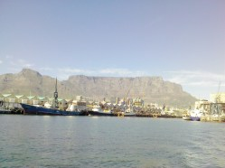 Table Mountain from the boat going to Robben Island