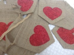 Red heart bunting on hessian sacking