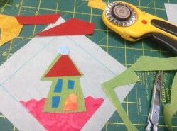 """Planning and free-cutting a design on to the 4"""" area, using scissors and waved rotary cutter blade"""
