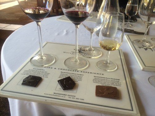 Waterford wine tasting was paired with chocolate.