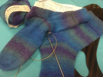 I knitted a pair of socks for my youngers sons girlfriend.