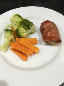 Buzymum - Chicken 'Kinda' Kiev served with steamed veg