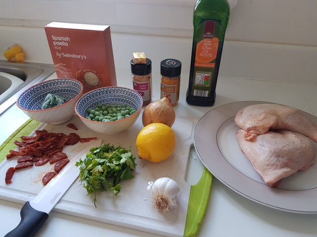 Buzymum - Paella ingredients ready to start