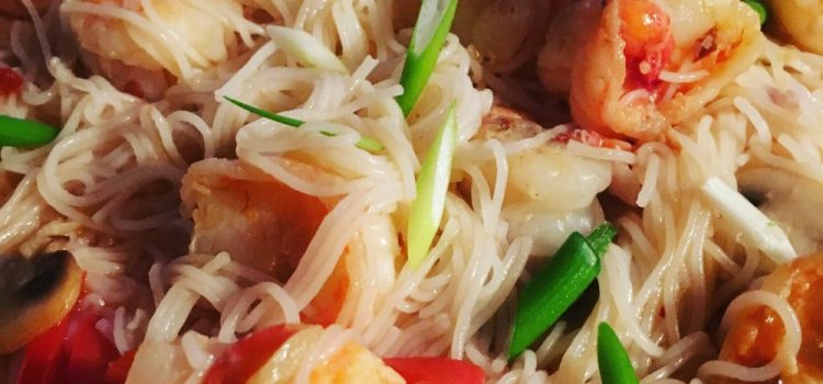 Garlic and Chilli Prawn Noodles