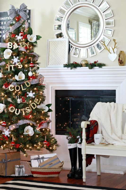 Christmas decor three and fire place