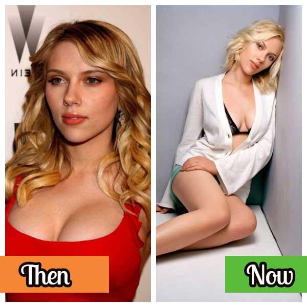 Scarlett Johansson now an then celebrity photos