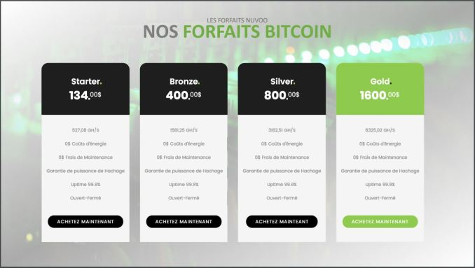 Différents forfaits nuvoo