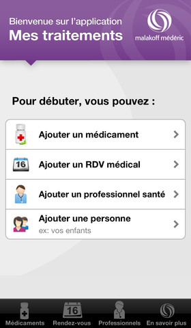 Application iPhone Mes traitements par Malakoff Mederic