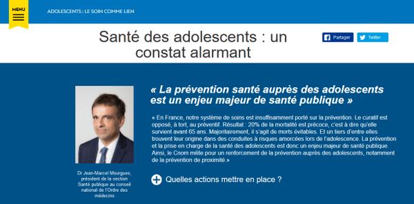 Webzine CNOM santé des adolescents