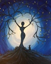 painting beginners acrylic tree water rocket friend goddess