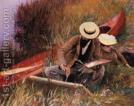 Paul Helleu Sketching With His Wife by Sargent - Reproduction Oil Painting