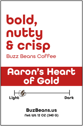Buzz Beans Coffee Label Aaron's Heart of Gold