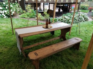 Homemade table and benches