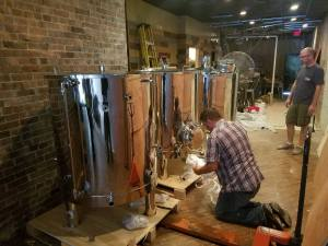 checking out the brew kettles