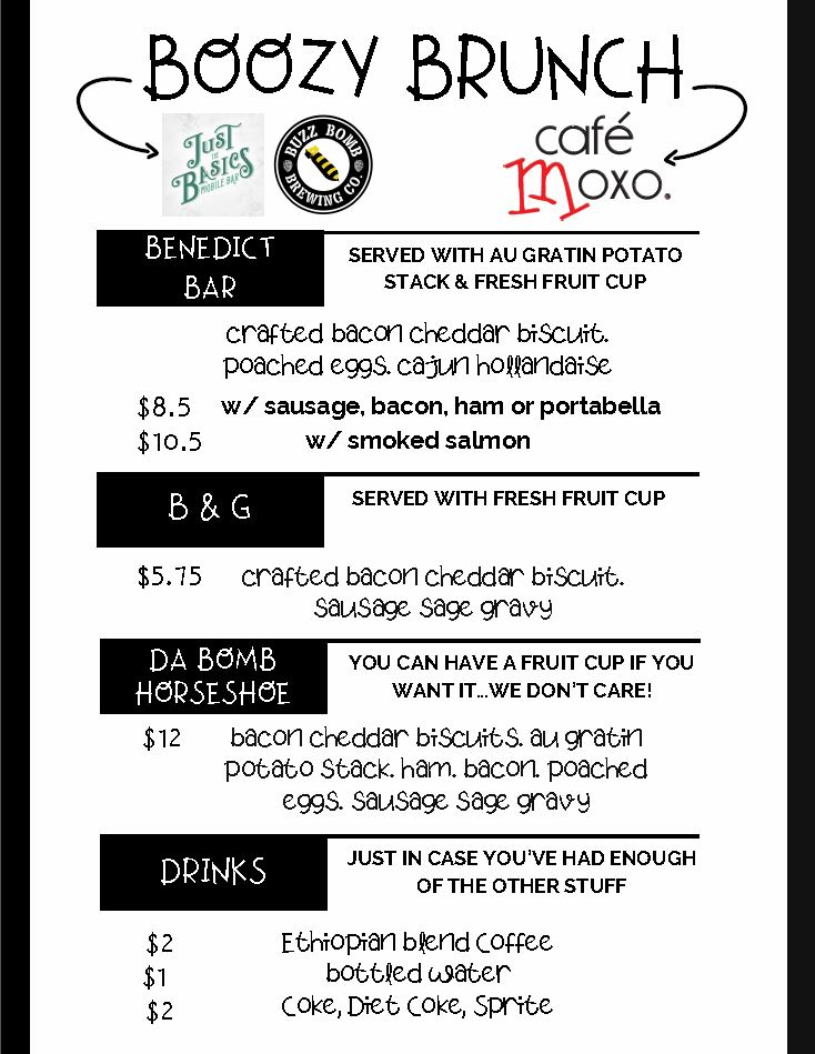 moxo boozy brunch menu