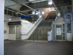 The two current retail spaces available at Broadway Station (click for larger version)