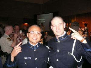 Transit police officers Cst. Keith Grace and Bernard Florido had their heads shaved for charity this weekend.