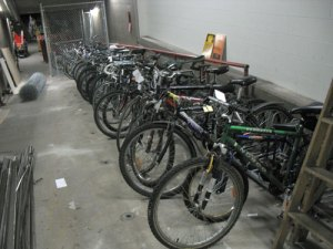 Bikes lost on transit, stored near the Lost Property Office.