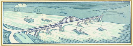 The luncheon menu illustration of the completed bridge. Scan provided courtesy of the <a href=http://www.burnabyvillagemuseum.ca>Burnaby Village Museum</a>.
