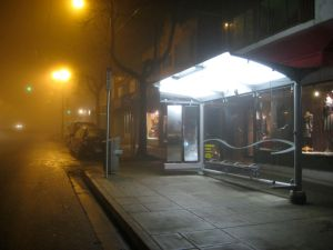 Light Bar Bus Shelter, an installation of Seasonal Affective Disorder lights at the Main and 20th bus shelter.